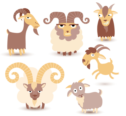 6 Cartoon vecteur mat��riel de conception de moutons