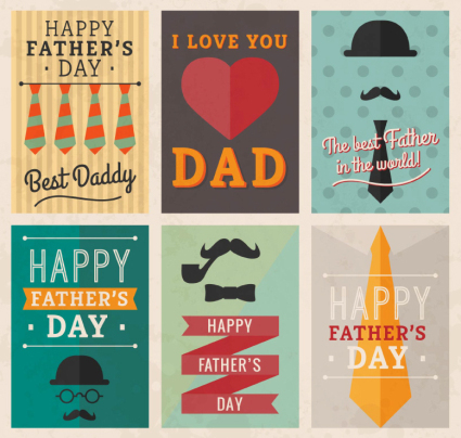 6 creative father's day carte de voeux vector mat��riel