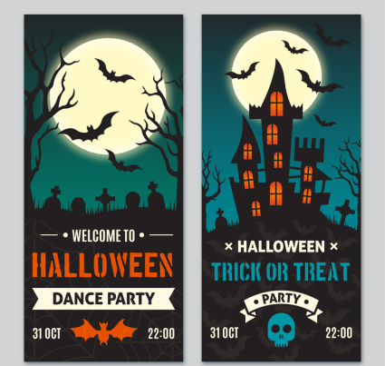 2 Carte Halloween Party Vector