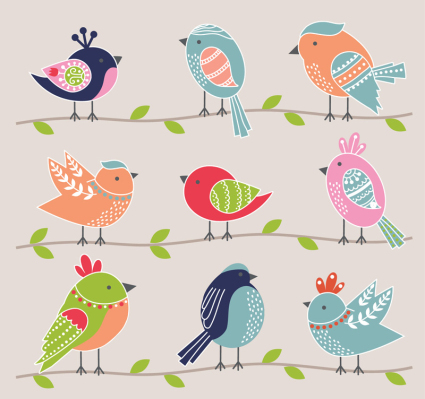 9 Cartoon oiseaux Vector Design