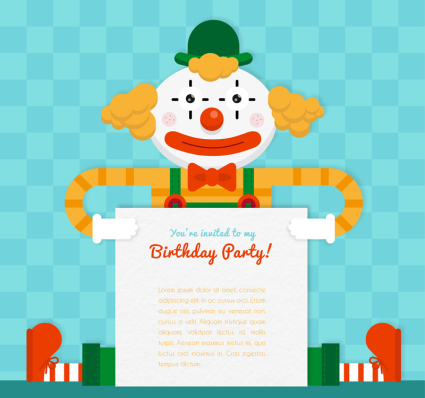 Creative affiche vecteur Birthday Party Clown