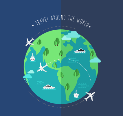 Creative World Voyage illustration vecteur de la Terre