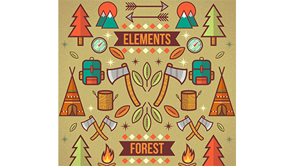 Creative camping for��t ��l��ment illustration vectorielle tutoriel