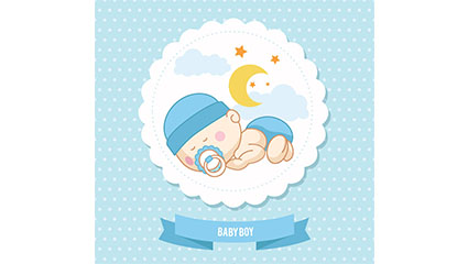 Cute baby greeting card tag vecteur mat��riel