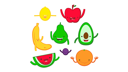 8 vecteur mat��riel mignon de bande dessin��e conception de fruits