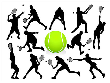 Tennis action chiffres silhouette Vector