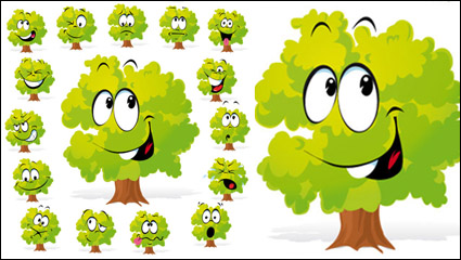 Cartoon arbres face �� 02 - vecteur