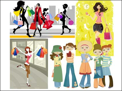 Shopping Girl Vector / More in: Vector Population
