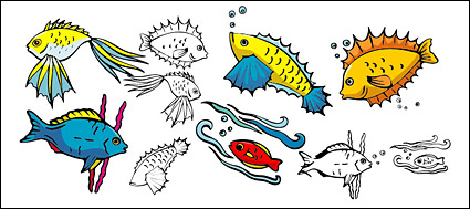 Various cartoon poissons