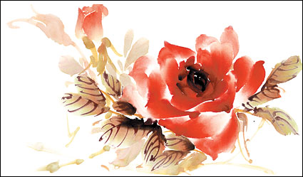Rose aquarelle style couches psd